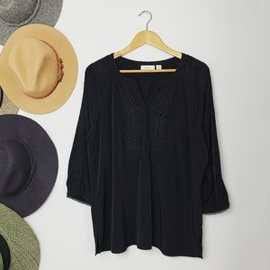 Chico's Black Embroidered Boho Top